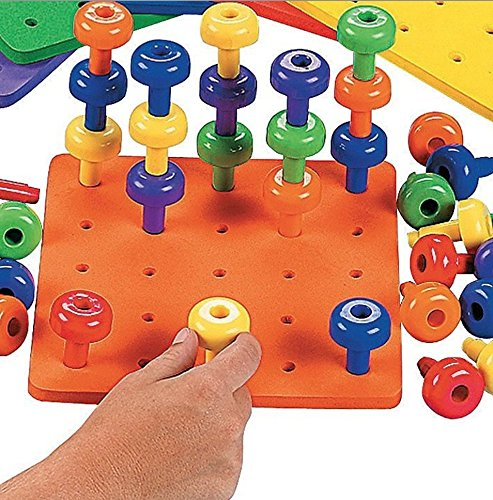 Stack it Peg Game With Board Occupational Therapy Autism Fine Motor Skills by Fun Express- Single Foam Board and 30 Pegs (Fine Motor)