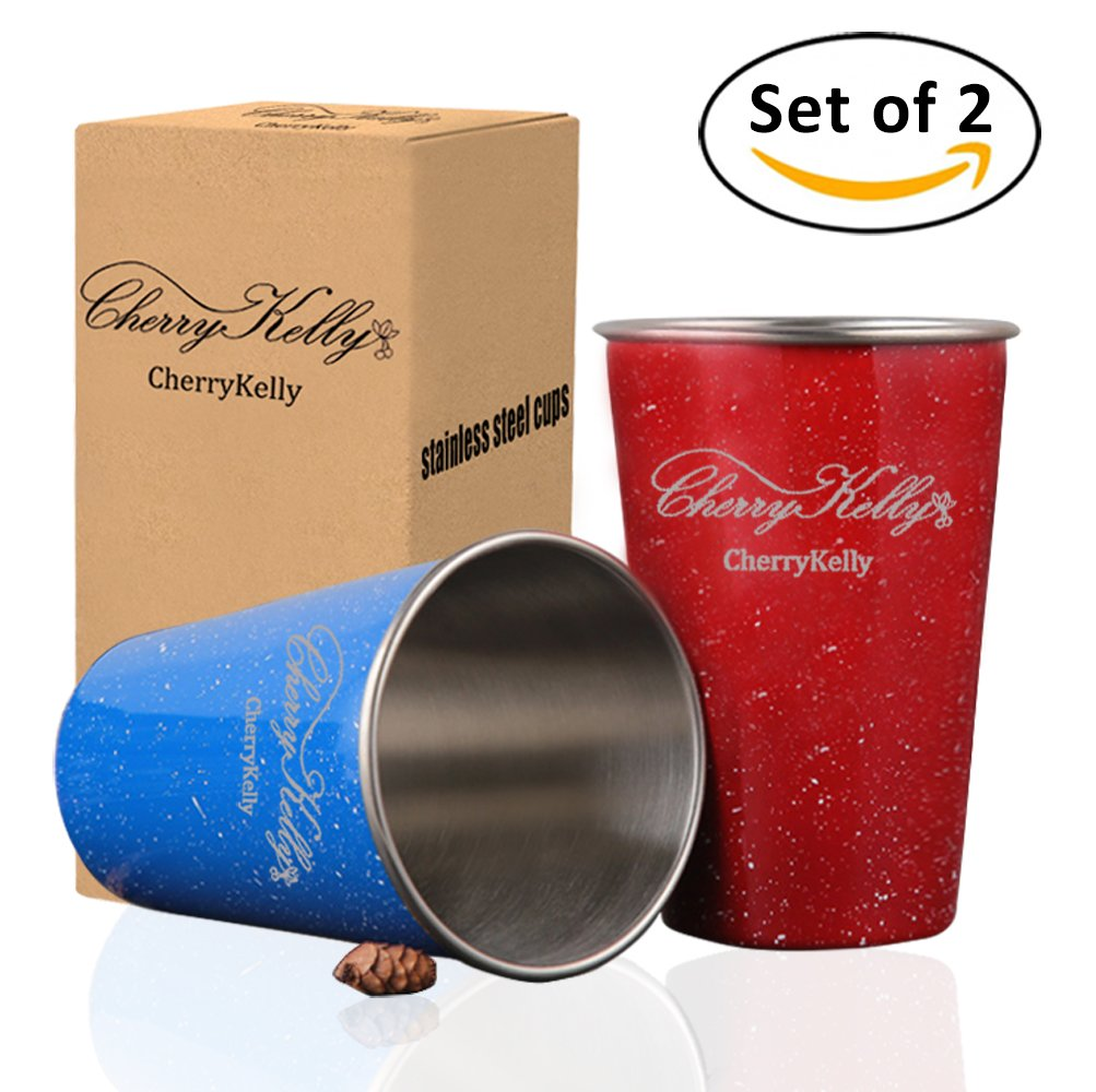 CherryKelly Food Grade Stainless Steel Cups - Stackable Cups - Kids and Toddlers Applicable - Outdoor, Camping and Indoor Activities - BPA/Lead Free