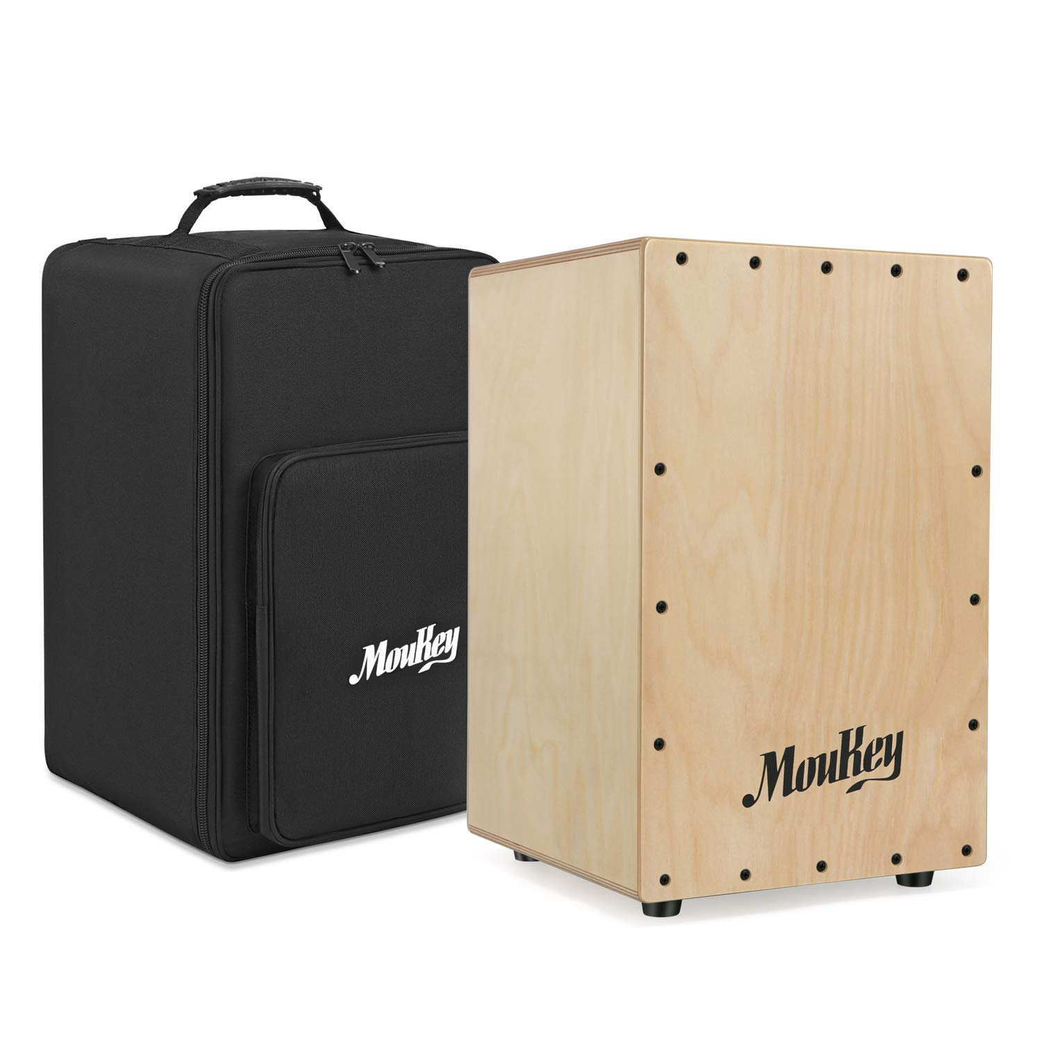 Moukey Full Size Cajon Drum DCD-1 Wooden Drum Box Birchwood Percussion Internal Metal Strings with Bag by Moukey