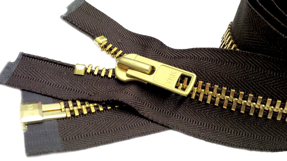 ZipperStop Wholesale Authorized Distributor YKK® Sale 26 Extra Heavy Duty Jacket Zipper (Special Custom) YKK #10 Brass Separating ~ Color 570 Sept. Brown (1 Zipper/pack) 0065611