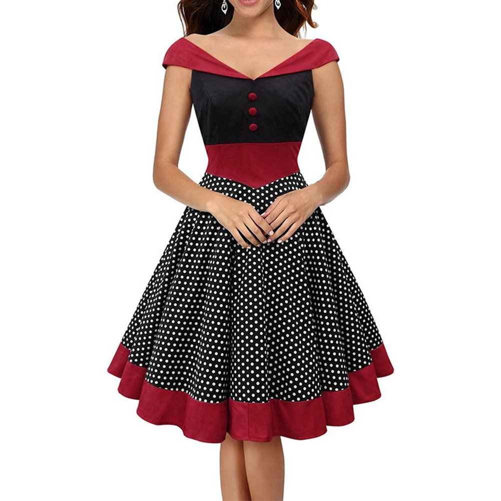 Ladyjiao Womens Vintage 50s 60s Rockabilly Swing Dress Polka Dot A Line Pencil Dress M