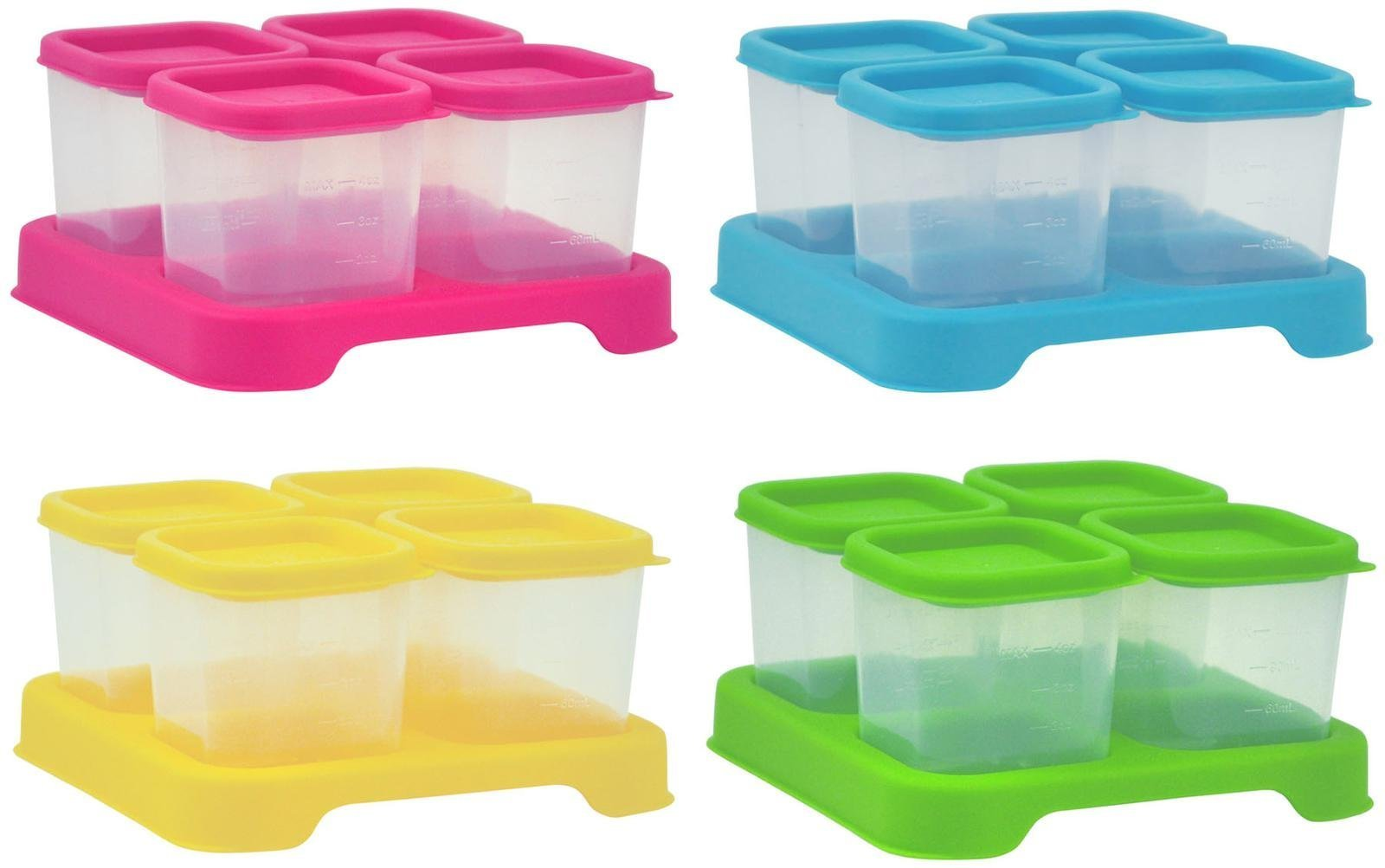 Green Sprouts by i play. Fresh Baby Food Unbreakable Cubes, Multi-Color, 4 Ounce, 4 Pack