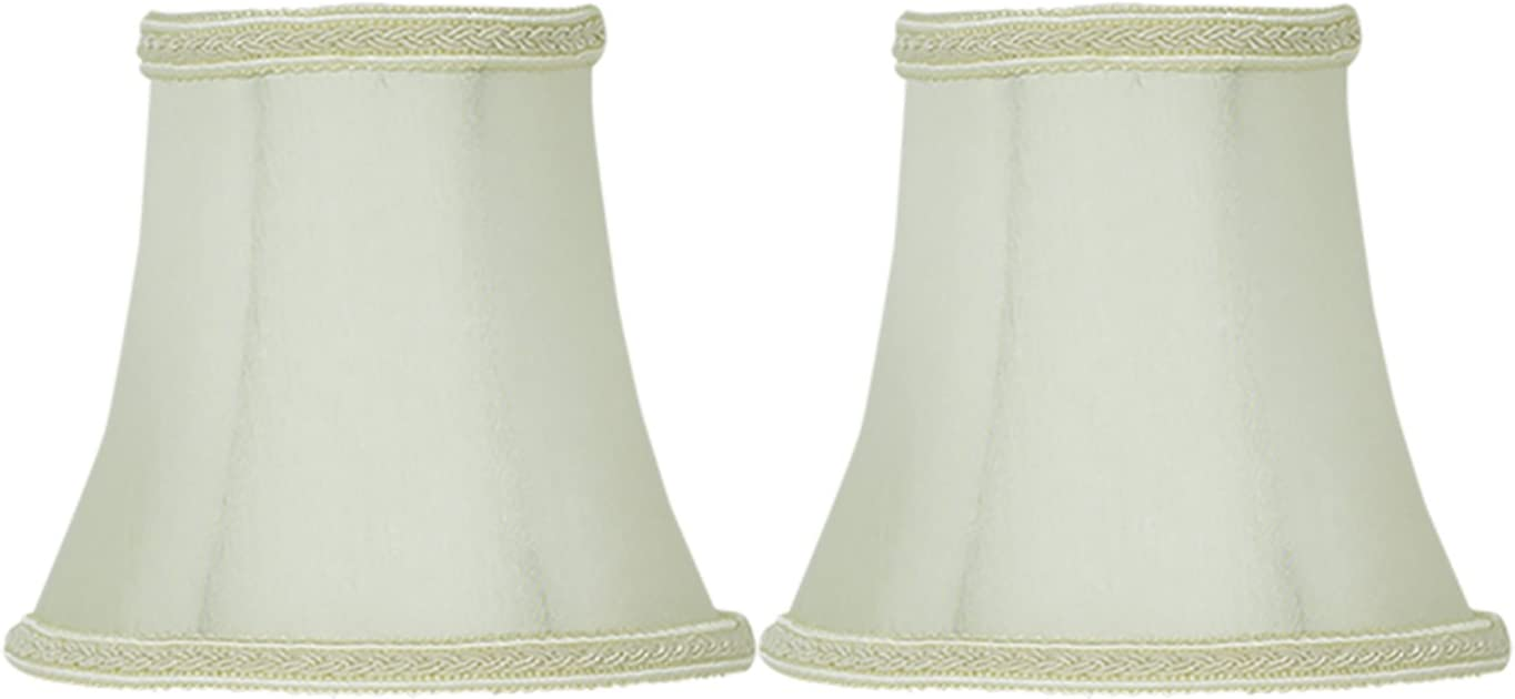 Urbanest Set Of 2 Eggshell With Lace Trim Silk Bell Chandelier Lamp Shade 3 Inch By 5 Inch By 4 5 Inch Clip On