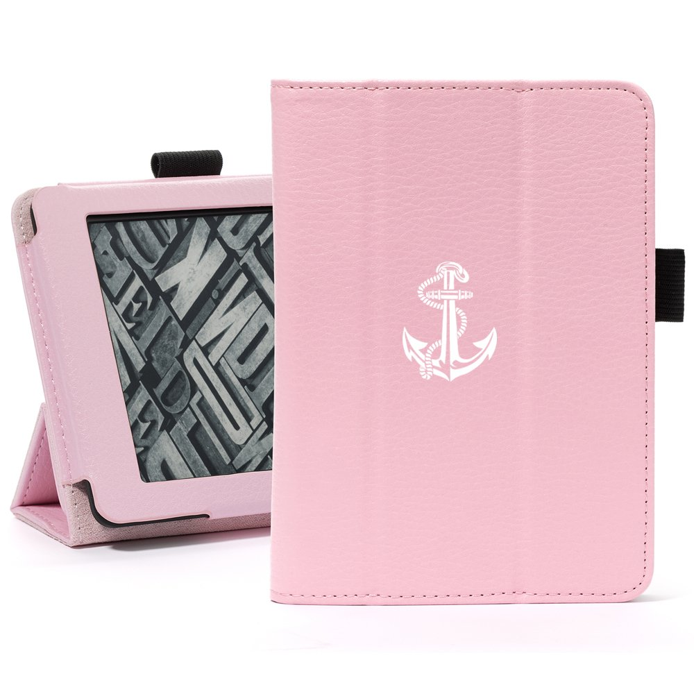 Pink For Amazon Kindle Paperwhite Leather Magnetic Case Cover Stand Anchor with Rope