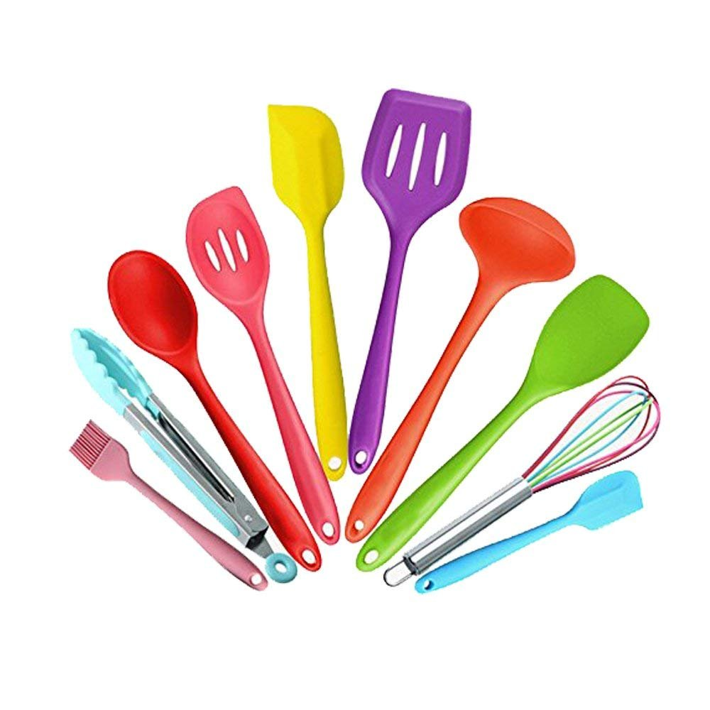 Silicone Kitchen Utensils Set (10 Piece), Heat Resistant Baking Cooking Utensils with Hygienic Solid Coating, Spoonula,Brush,Spatula,Ladle,Slotted Turner and Spoon,Tongs,Pasta Fork (Multi-Color)