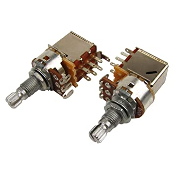 IKN 2pcs B500K Potenciómetro de empuje Pull Audio Tono Tono Switch Pots Split eje L18mm para