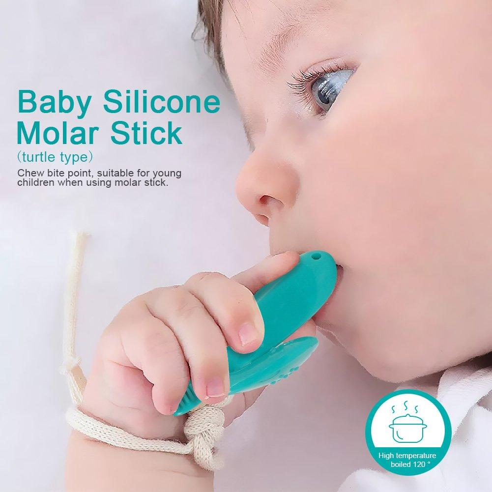 Alohar Bei/ßring f/ür Babys Schildkr/öte Smaragdgr/ün Silikon Baby Training Zahnb/ürste
