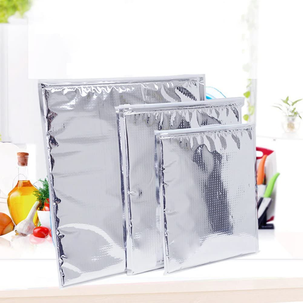 Dilwe Insulated Bags 10 Pcs Reusable Aluminum Picnic Hot Cold Pouch for Home Outdoor Picnic Hiking Camping