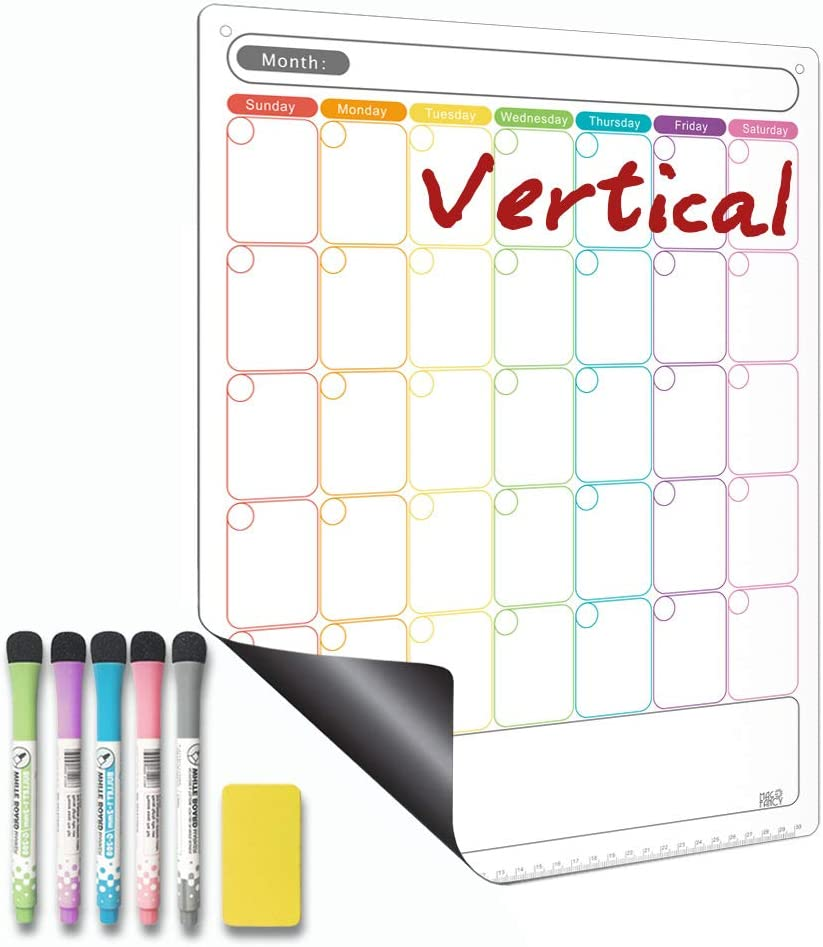 Dry Erase Calendar - Magnetic Calendar for Refrigerator - Vertical Monthly Fridge Calendar Whiteboard with Thickened Magnet Included Fine Point Marker & Eraser & Holes for Wall Hanging