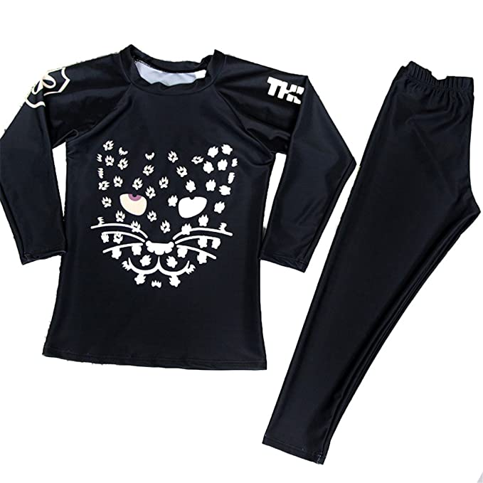 ec08d031468b8 Image Unavailable. Image not available for. Color: Baby Girls Kids 2 Piece  Cat Print Long Sleeve Quick Dry Rash Guard Swimsuit