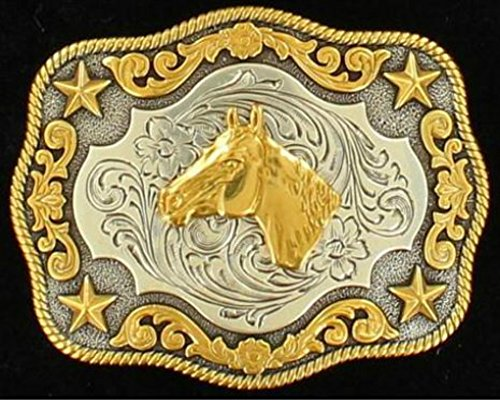 Nocona Boy's Roped Edge Horse Head Belt Buckle, Silver, Gold, OS