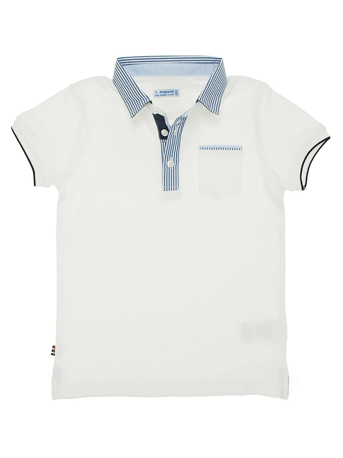 3124 S//s Polo Dress for Boys White Mayoral