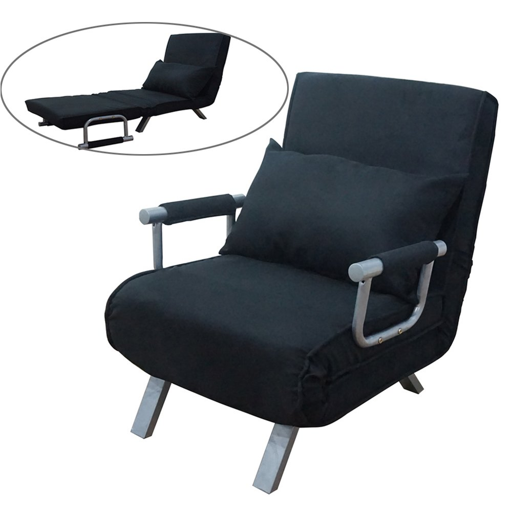 FCH Convertible Arm Chair Sleeper Recliner Lounge Couch,Black