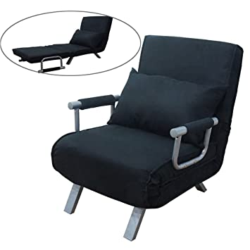 Sensational Fch Folding Sofa Bed Convertible Arm Chair Sleeper Recliner Lounge Couch Black Machost Co Dining Chair Design Ideas Machostcouk