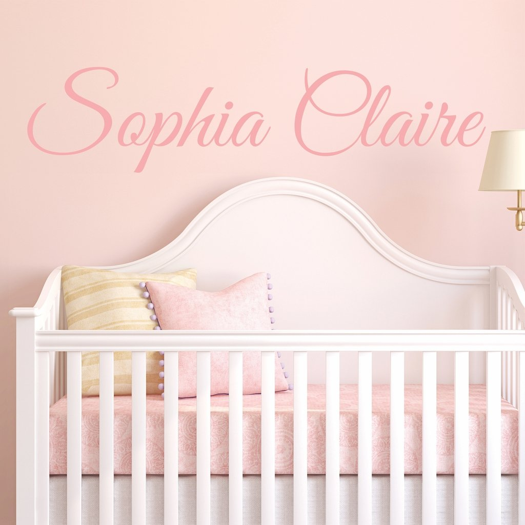 Fancy Cursive Single Personalized Custom Name Vinyl Wall Art Decal Sticker 40'' W, Girl Name Decal, Girls Name, Nursery Name, Girls Name Decor, Girls Bedroom Decor, PLUS FREE 12'' WHITE HELLO DOOR DECAL