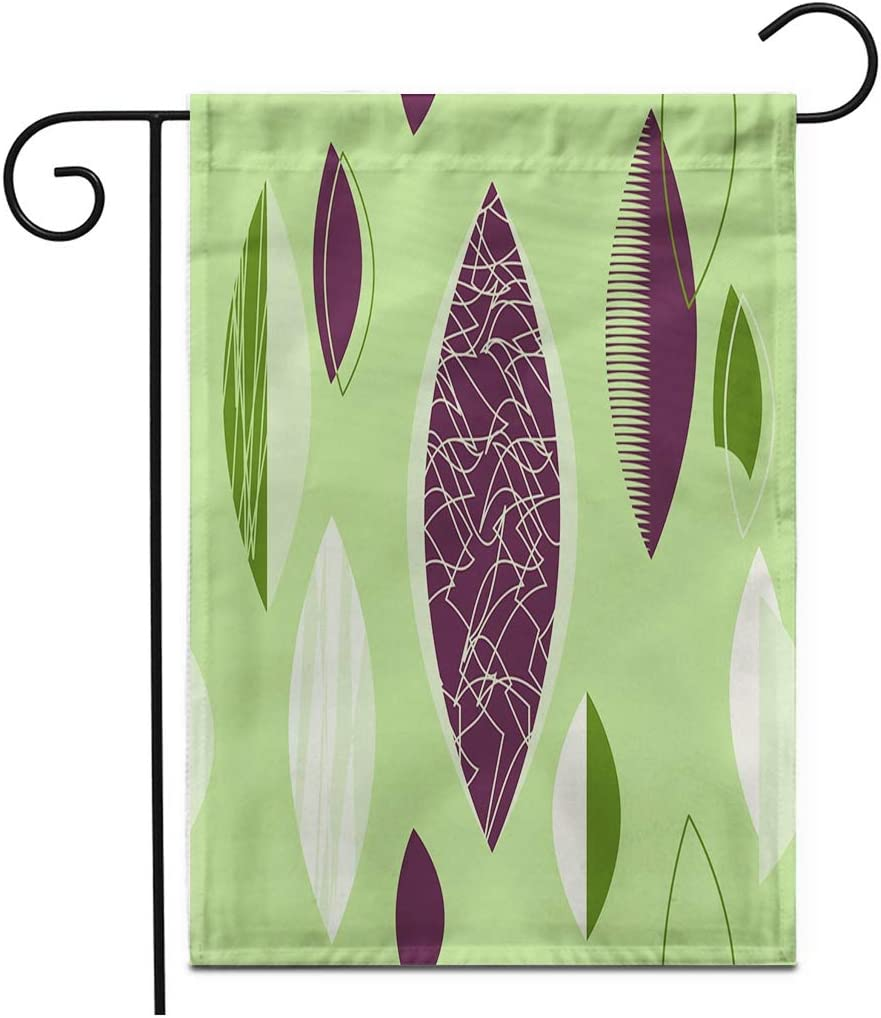 """rouihot Home Decor 12""""x18"""" Garden Flag Green Mid Century Modern 1950S Vintage Retro Atomic Pattern Outdoor Yard Flags Banner for Patio Lawn Double Sided"""