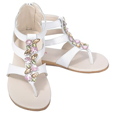 c2ef376e4b92 L Amour White Jeweled Gladiator T Strap Spring Sandal Little Girl 12