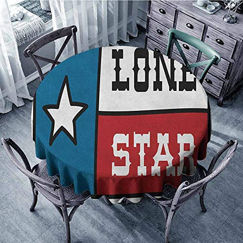 ScottDecor Outdoors Round Tablecloth Jacquard Tablecloth Texas Star,Lone Star Flag United States of America Themed Patriotic Design, Cobalt Blue Ruby White Diameter 36