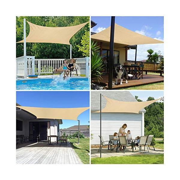 61aNsplpHfL RATEL Sonnensegel Sand 3 × 3 m Rechteck, wasserdicht Windschutz mit 95% UV Schutz Sonnenschutz für Draußen, Patio…