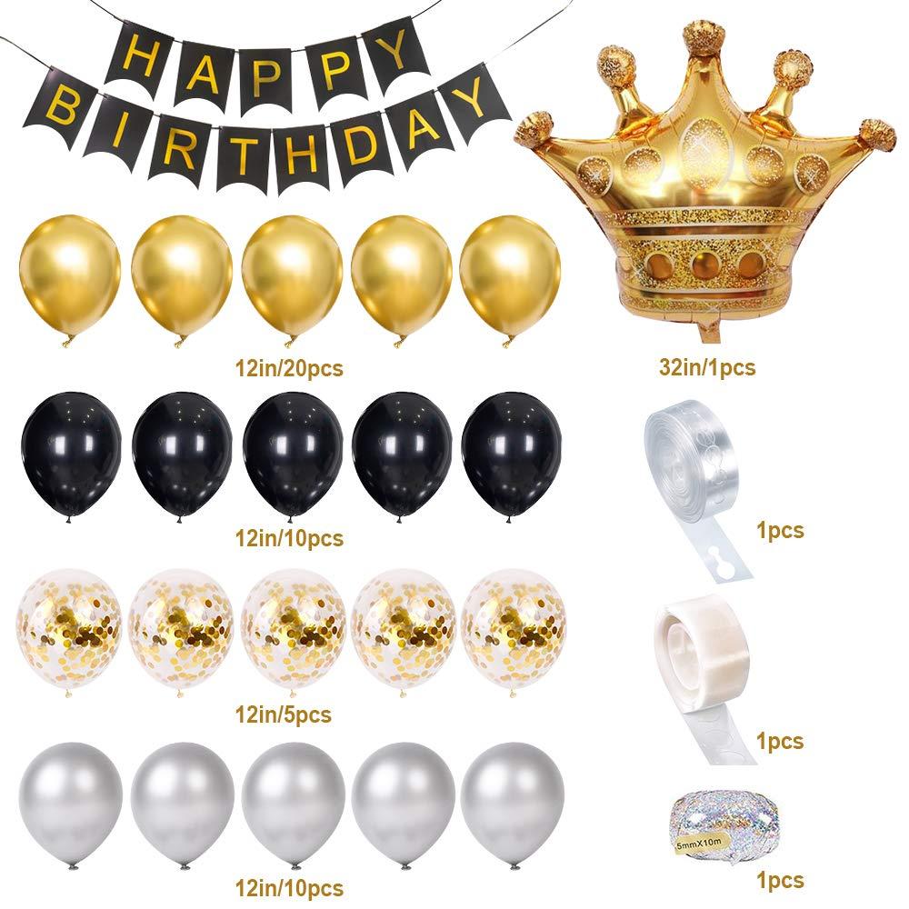 Globos de L/ámina de L/átex de Corona Globos de Confeti de Oro Negro Plateado SPECOOL Decoraciones de Fiesta de Cumplea/ños Pancarta de Feliz Cumplea/ños en Oro Met/álico