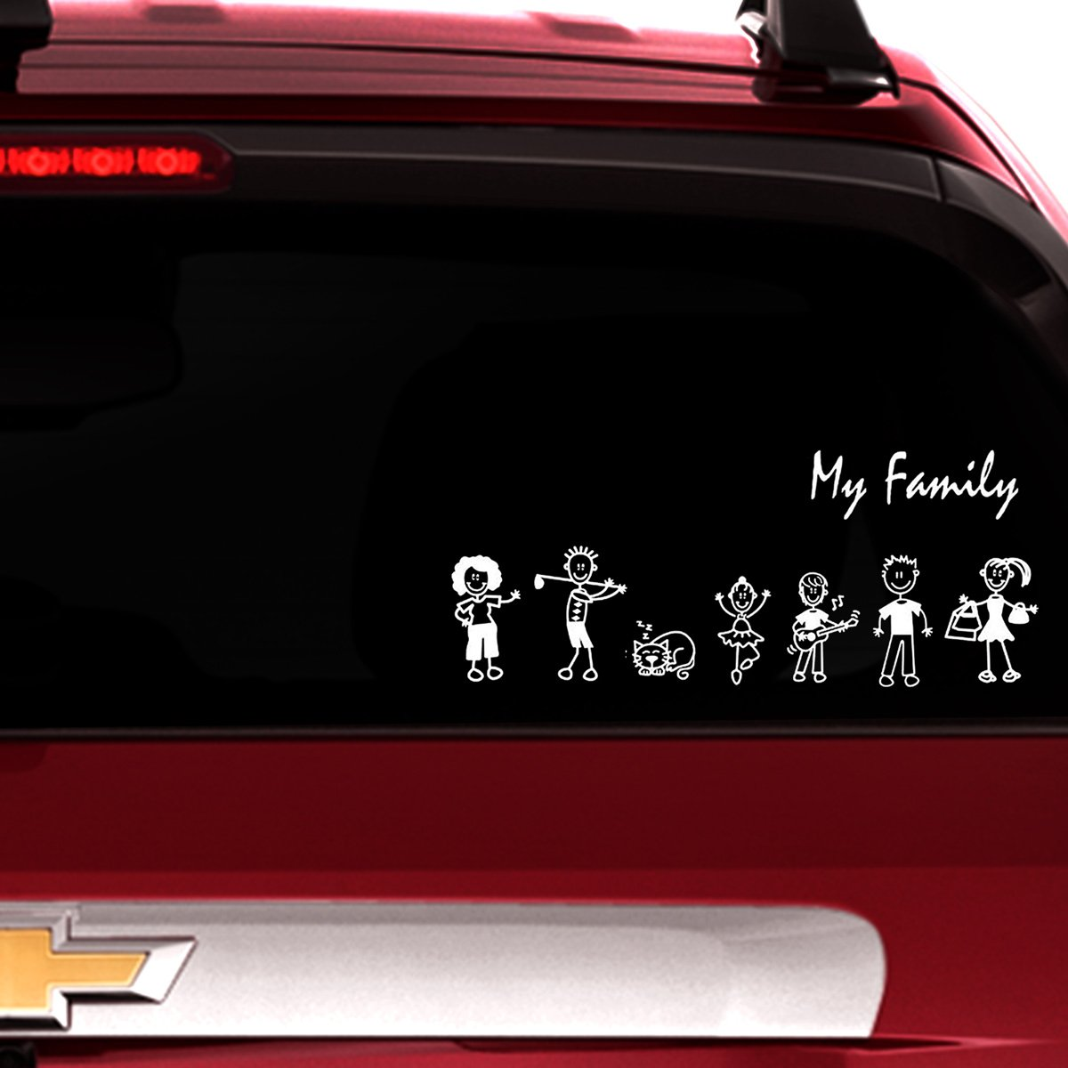 Amazon com totomo 13 stick figure my family car stickers style1 with pet dog cat family car decal sticker for windows bumper automotive