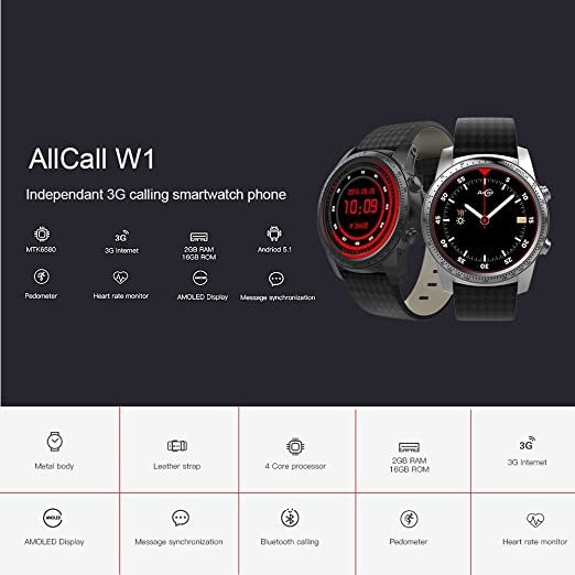 AllCall W1 Rythme Cardiaque Smart BT GPS de Sport 3G / 2G Regarder le Téléphone 2 Go + 16 Go MTK6580m Quad Core Android 5.1 MP3 MP4 WiFi: Amazon.fr: High- ...