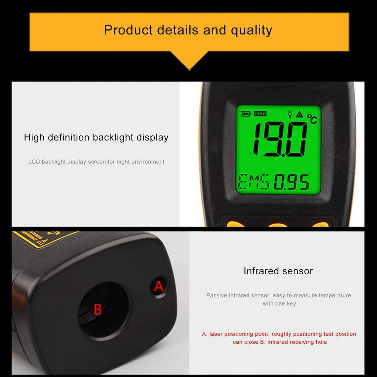 XINFULUK Term/ómetro infrarrojo Bajo consumo de energ/ía Pantalla LCD retroiluminada Funci/ón de bloqueo de datos Pantalla de letrero l/áser 1 juego