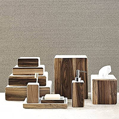 4 Piece Bath Accessory Set by Kassatex, Habitat Acacia Wood | Lotion Dispenser, Toothbrush Holder, Cotton Jar, Soap Dish - Acacia Wood -  - bathroom-accessory-sets, bathroom-accessories, bathroom - 61aNtdk8huL. SS400  -