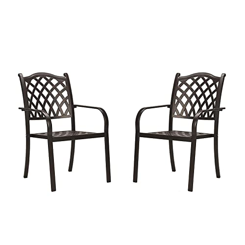 CW Chair Outdoor Patio Cast Aluminum Stackable Set with Arms, Lattice Weave Design Metal Dining Rust-Free Bistro Chairs for Lawn Garden Backyard, Set of 2, Dark Brown