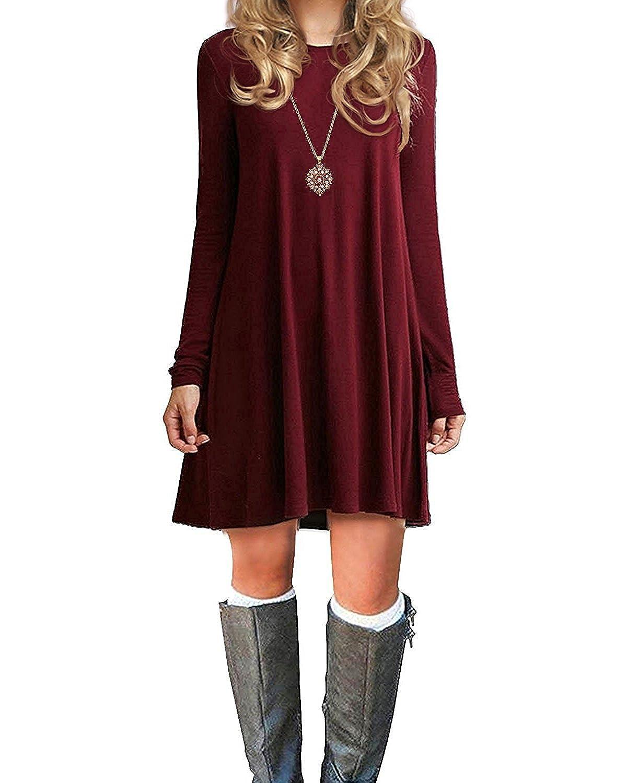 Century Star Women's Fall & Winter Long Sleeve Casual Plain Simple T-Shirt Loose Dress Soft Thin Knee Length Flowy Dress CUPS1996T0000SN