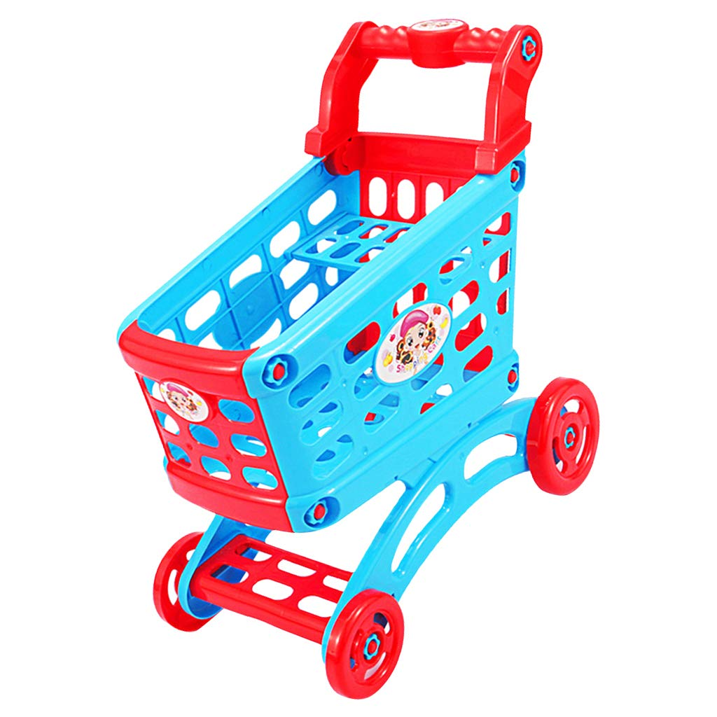 B Blesiya Blue & Red Color Large Grocery Supermarket Shopping Cart Trolley for Kids Children, Birthday