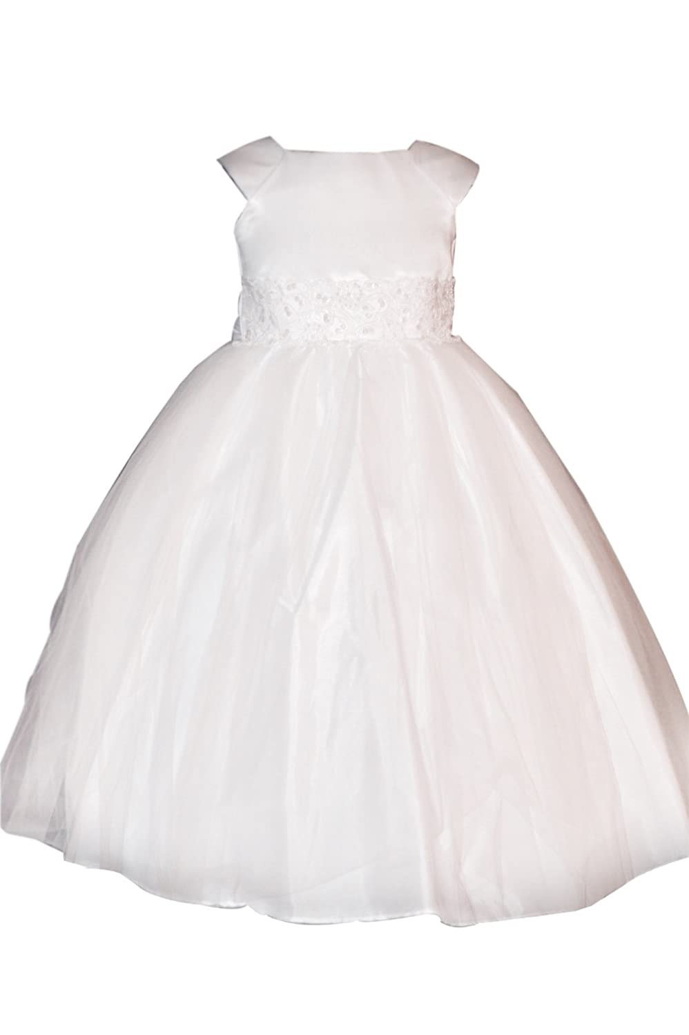 32d6d6b6f6fa7 Amazon.com  Ceci Kid White First Communion or Baptism Dress for Girls with  Cap Sleeves  Clothing