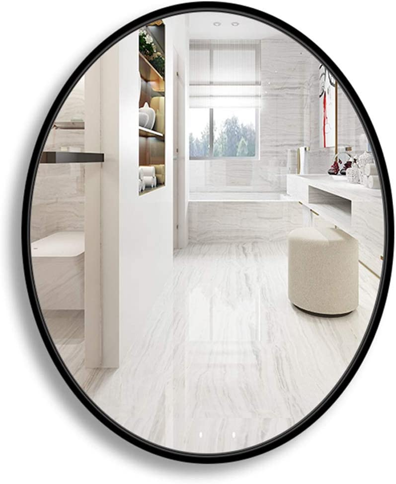 El Panel de Cristal Flotante contemporáneo de Madera Moderno Oval del Espejo de la Pared del Marco Espejos de vanidad de Pared, tocador, Dormitorio o baño - Negro: Amazon.es: Hogar