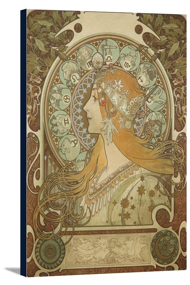 Zodiac ( onシルク)ヴィンテージポスター(アーティスト: Mucha、Alphonse )フランスC。1896 24 x 36 Gallery Canvas LANT-3P-SC-60844-24x36 24 x 36 Gallery Canvas  B0184AR834
