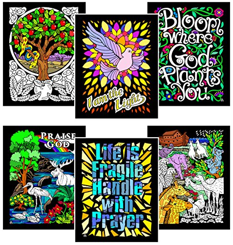 Stuff2Color Prayer Pack - Includes 6 Fuzzy Velvet Coloring Posters -