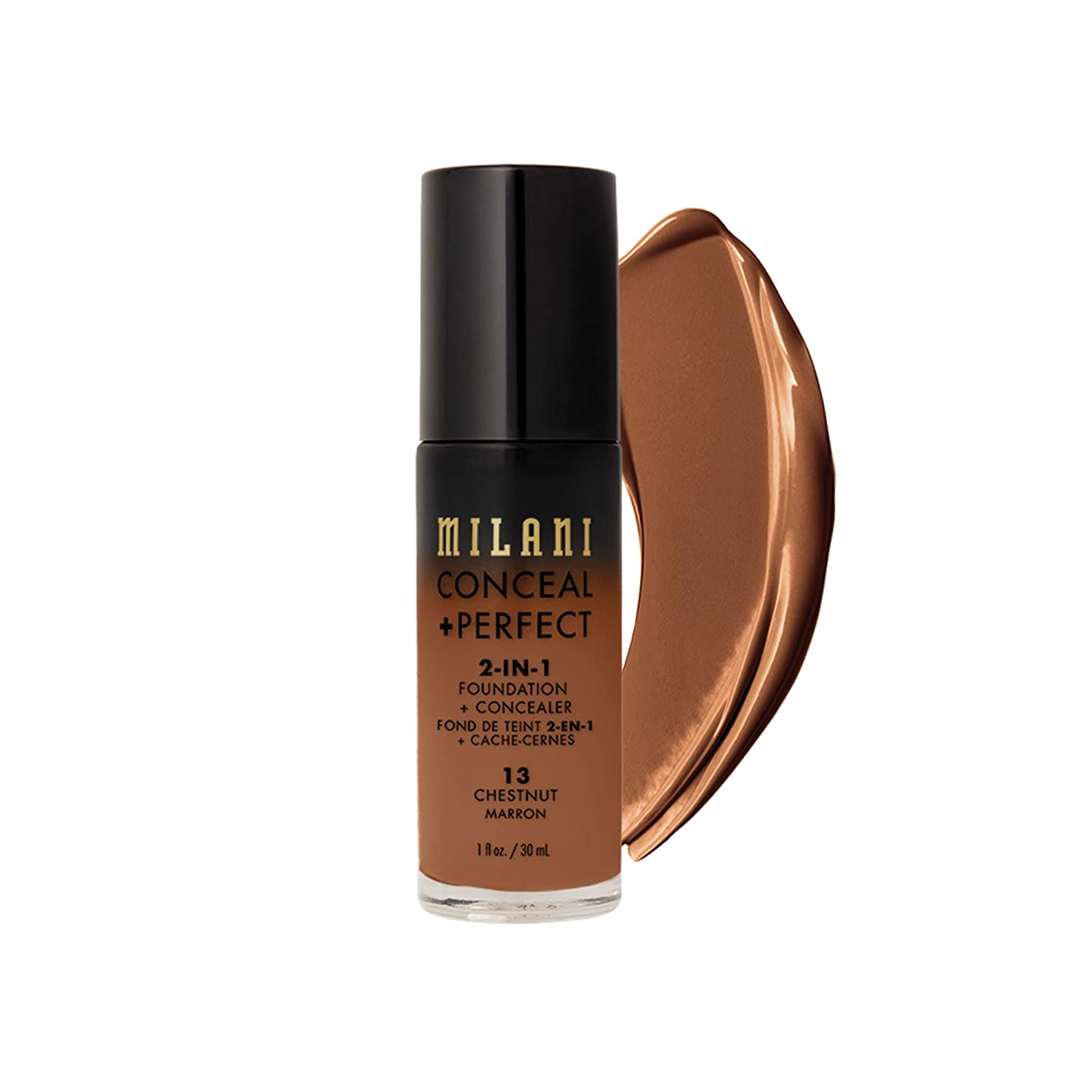 Milani Conceal + Perfect 2-in-1 Foundation + Concealer - Chestnut (1 Fl. Oz.) Cruelty-Free Liquid Foundation - Cover Under-Eye Circles, Blemishes & Skin Discoloration for a Flawless Complexion