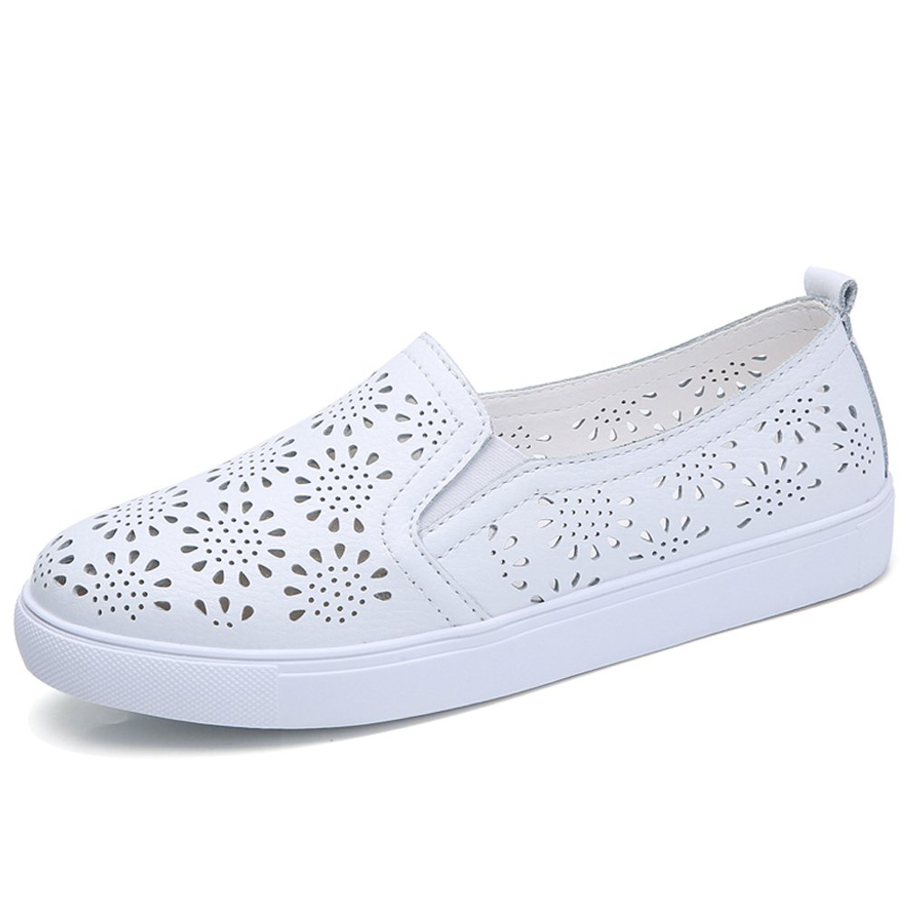 HKR-LSJ6689baise37 Womens Leather Perforated Slip On Sneakers Comfortable Loafers Summer Hollow Out Tennis Shoes White 7 US