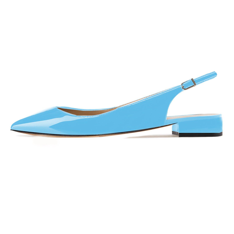 Eldof Women Low Heels Pumps | Pointed Toe Slingback Flat Pumps | 2cm Classic Elegante Court Shoes B07CGC4PHB 12 B(M) US|Patent Skyblue