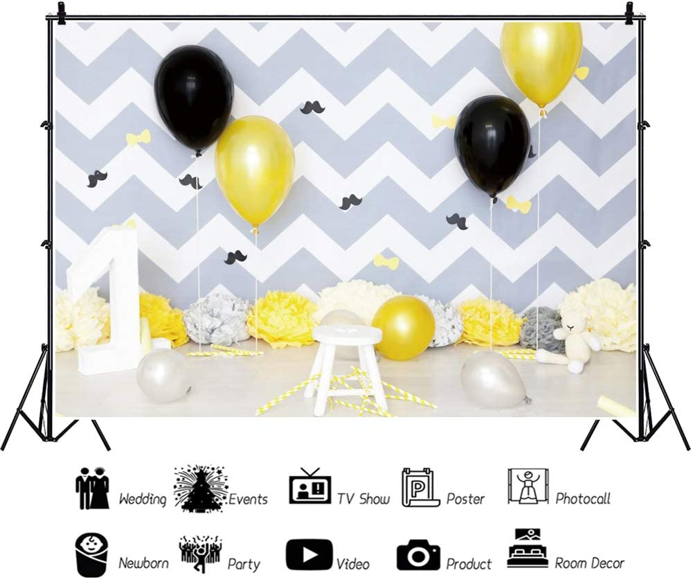 Yeele 1st Birthday Backdrop 10x8ft Black Balloon Interior Photography Background One Year Baby Birthday Party Banner Artistic Portrait 1st Cake Smash Photo Booth Props