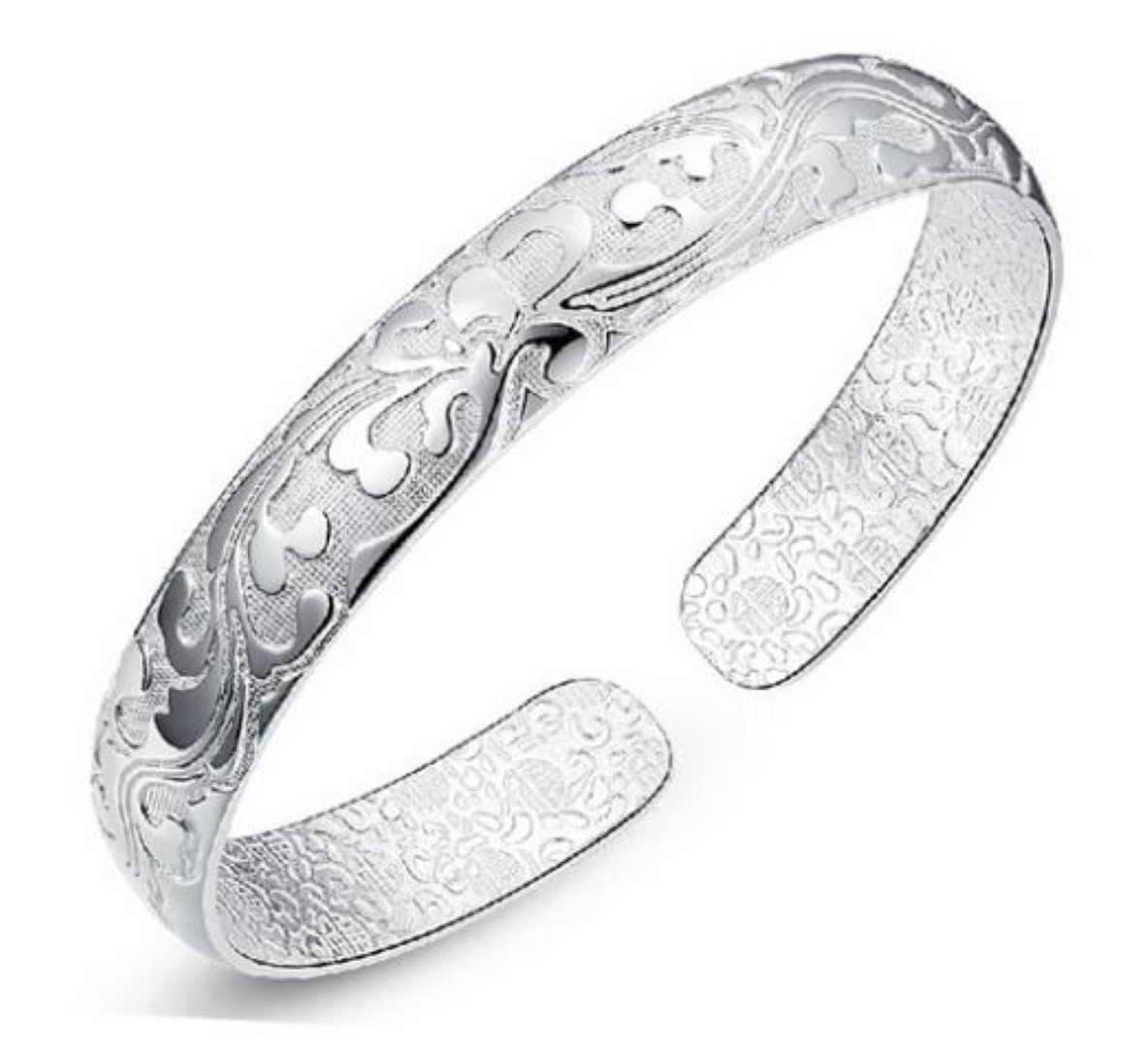 Chandria's Treasures Sterling Silver Antique Flower Bangle Bracelet - Summer Sale