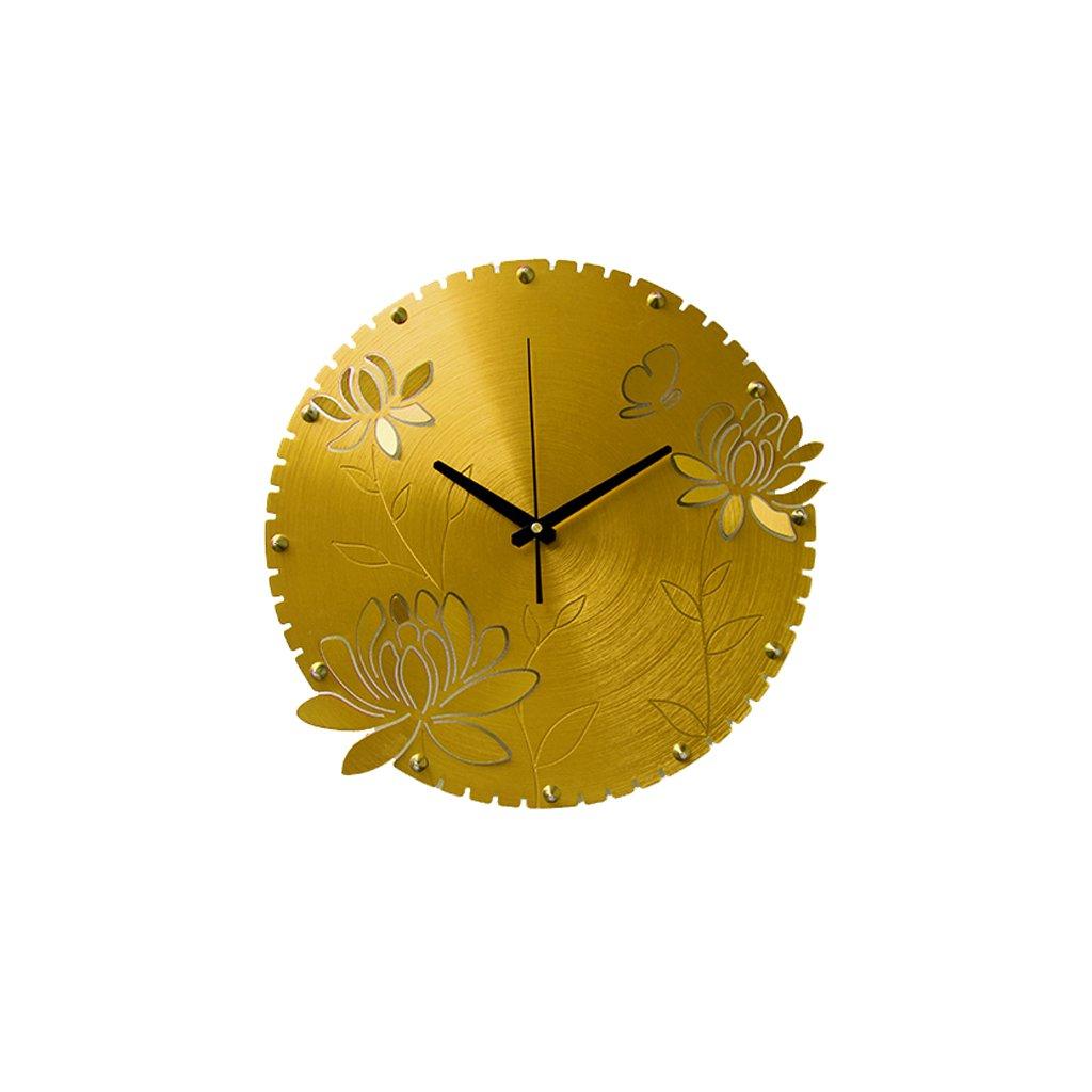掛け時計 ウォールクロック14インチファッションクリエイティブベッドルームリビングルームウォールクロックリッチ&サイレントクロック Rollsnownow (色 : ゴールド) B07BKZDZ18ゴールド