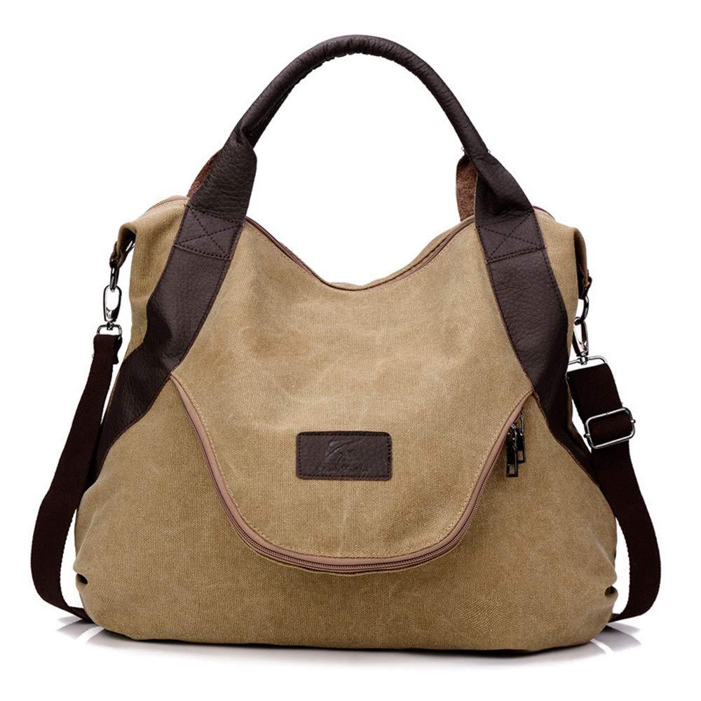Jinsun Work Shoulder Bags Multipurpose Canvas Crossbody Shoulder Bag High Capacity Light File Shopping Travel Handbag (Khaki)