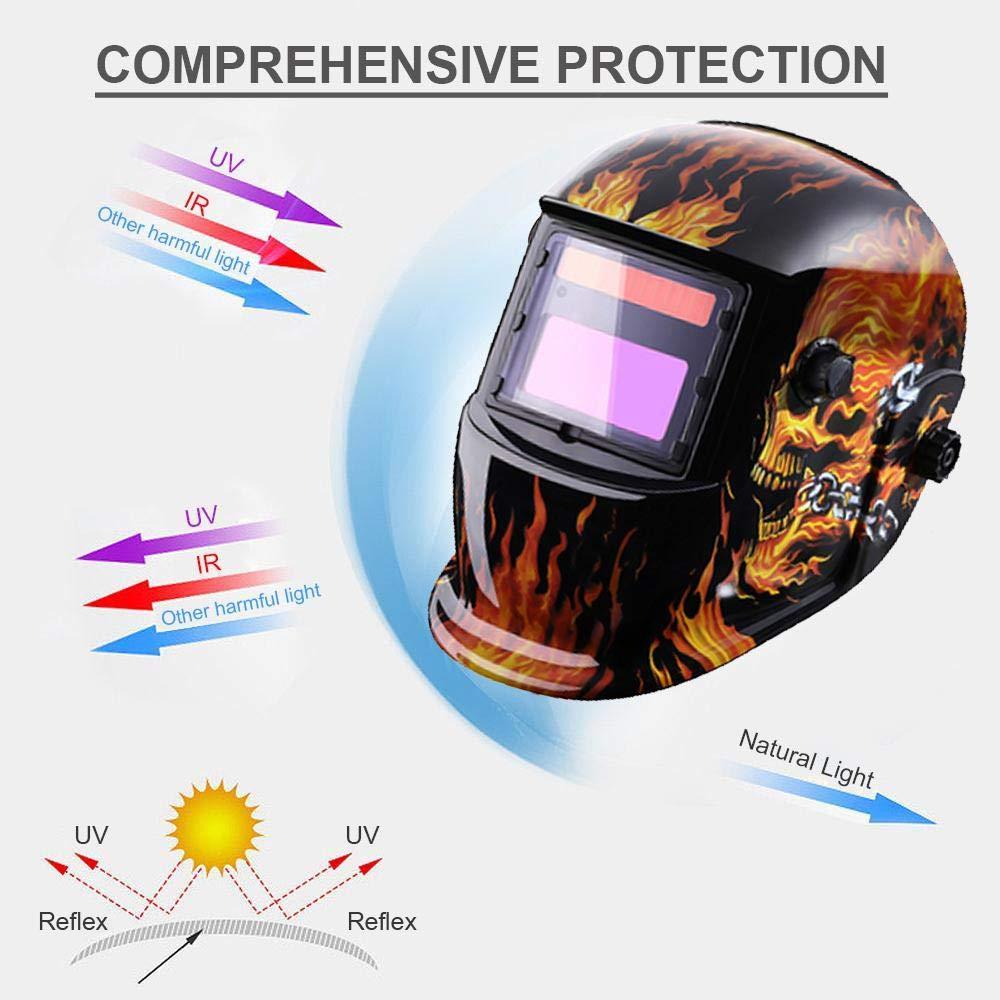 Volwco Casco para soldar Oscurecimiento autom/ático con energ/ía solar con lente amplia Rango de sombra ajustable 4//9-13 para Mig Tig Arc Weld Grinding