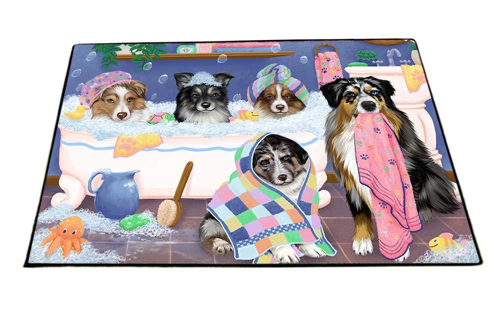 Rub A Dub Dogs In A Tub Australian Shepherds Dog Floormat FLMS53454 (24x36) by Doggie of the Day