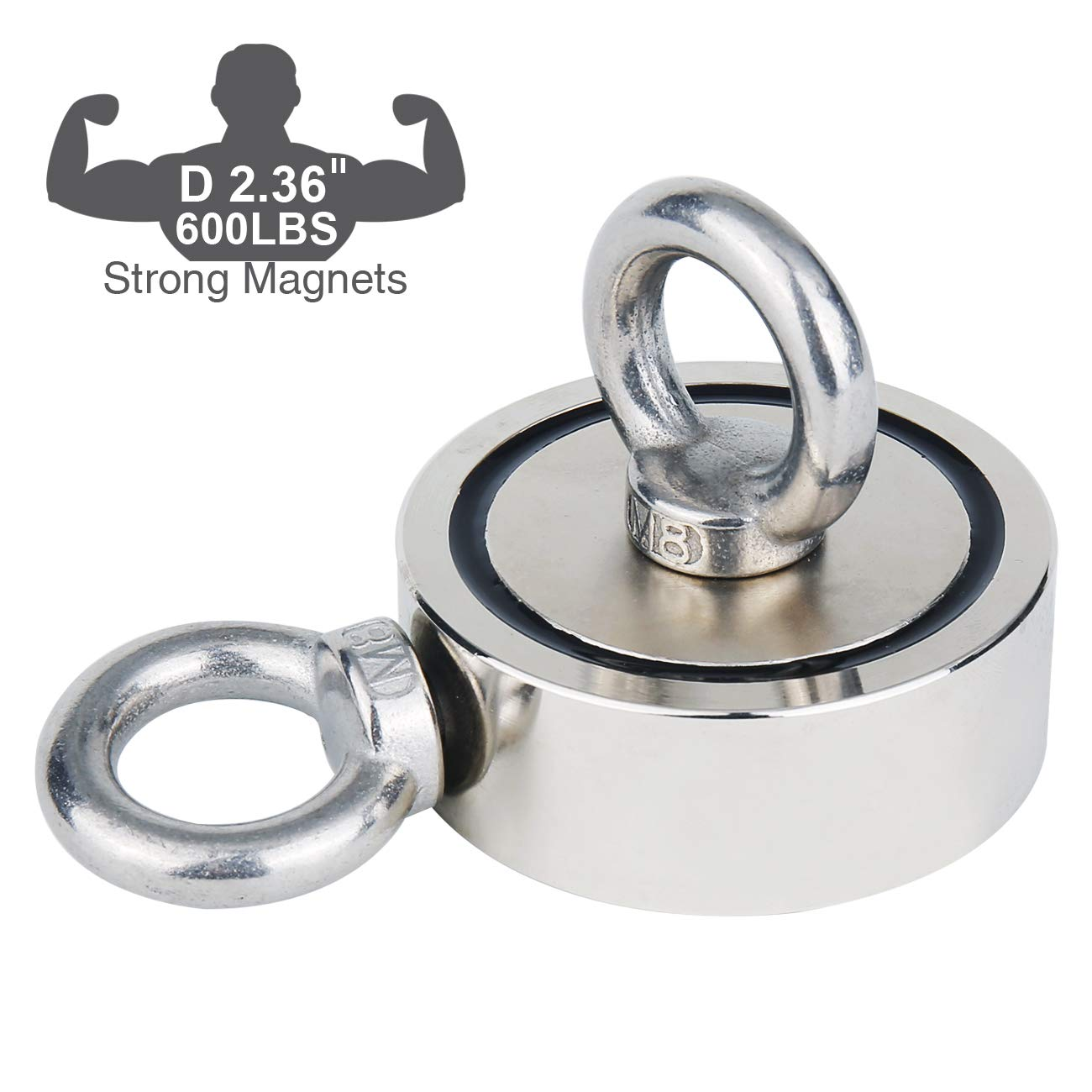 Fishing Magnet (Double-Sided Magnetic) 600LBS Pulling Force Rare Earth Neodymium Magnet with Eyebolt Diameter 2.36 inch (60mm) Superior Magnetics for Underwater Salvage, Retrieval and Recovery