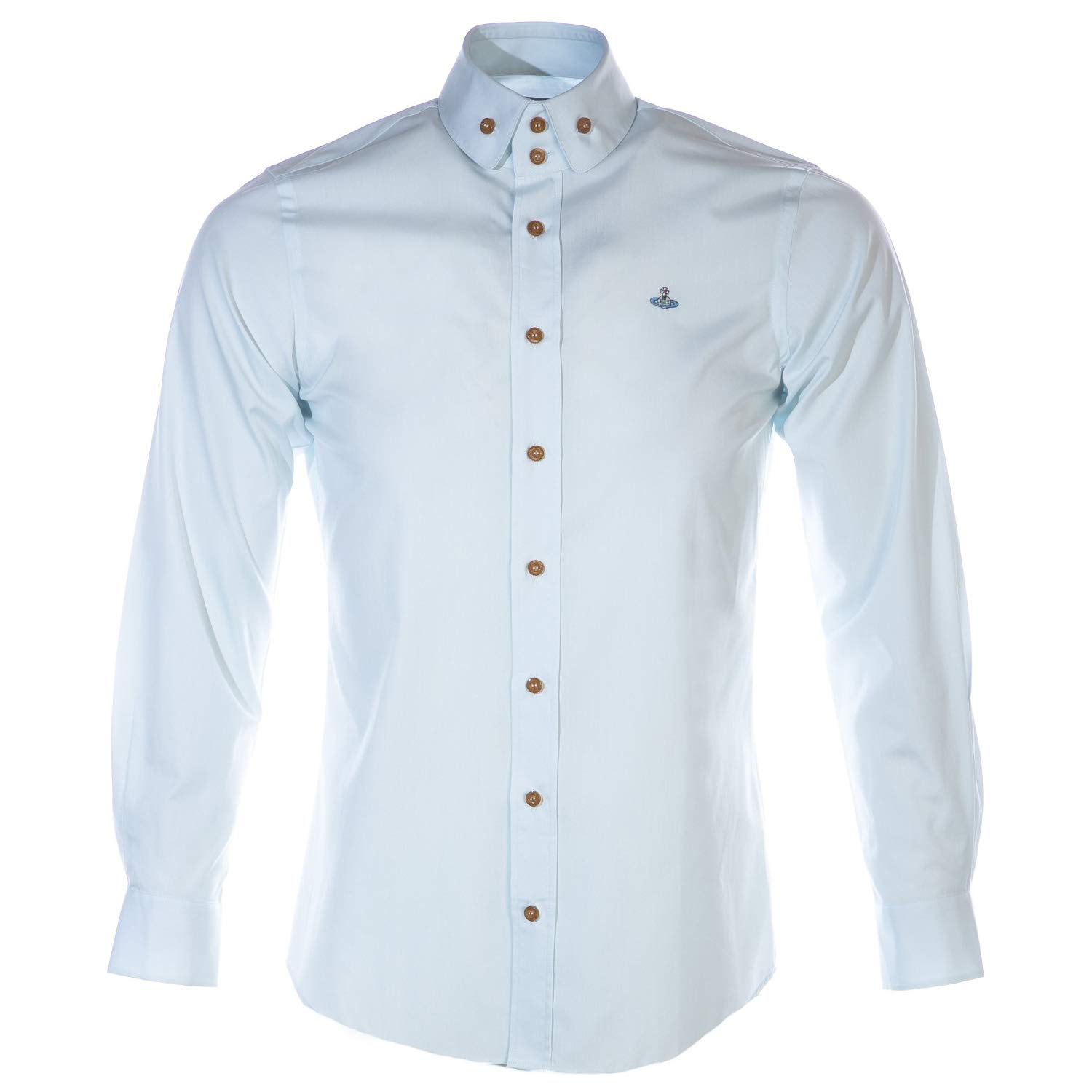 6285ba961 Vivienne Westwood 2 Button Collar Button Down Shirt in Light Blue 46 (S):  Amazon.co.uk: Clothing