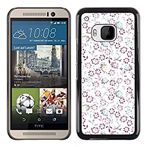 For HTC One M9 - White Clean Minimalist Spring Flowers /Modelo de la piel protectora de la cubierta del caso/ - Super Marley Shop -