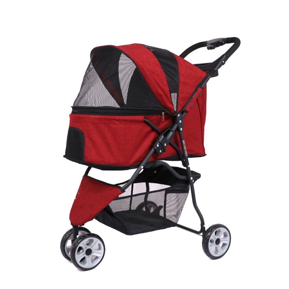 Red Dog Cart Three-Wheeled Pet Stroller Cat and Dog Out of The Portable Cart Tool-Free Inssizetion,Red