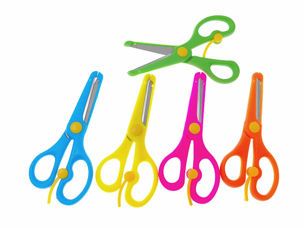 Kinteshun Children Scissors,Kids' Artwork Blunt Tip Anti-pinch Shears Students Cutter Scissors for DIY Handcraft Projects(5pcs)