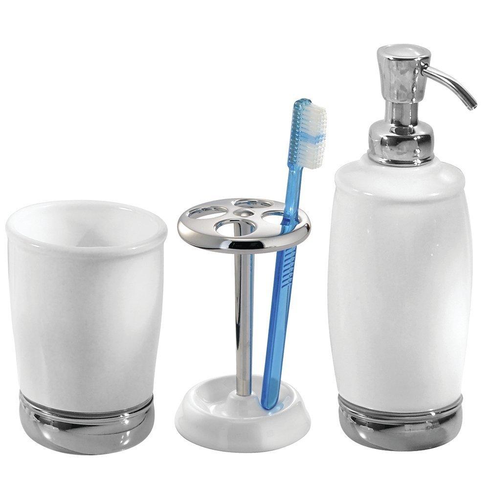 mDesign Set da 3 Accessori per il bagno in ceramica – Set accessori bagno elegante composto da dispenser sapone liquido, portaspazzolino e bicchiere da lavandino – bianco/argento MetroDecor 0479MDBA